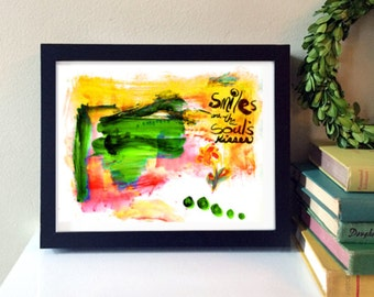 Smiles are the Souls Kisses - acrylic and ink painting, abstract art, modern home decor, wall art, digital print