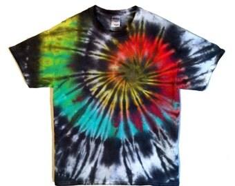 Tie Dye Shirt Rainbow Black - Men and Women's Hippie Style T Shirt