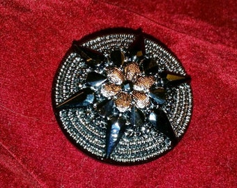 Antique Victorian Gun Metal Colored Pressed Glass Button with Silver Lustre Pattern Finish