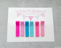 Neon hair clippies- hot pink, bright blue & neon coral. Chevron print hair clippies. Summer hair clips ~ Cutie Pie Boutique
