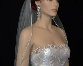 "1 layer 27""X72"" White or Ivory Veil/Veils Wedding Rhinestone Edge | 1 tier rhinestone edge veil"