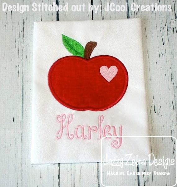 Apple with Heart Appliqué embroidery Design - apple appliqué design - school appliqué design - teacher appliqué design