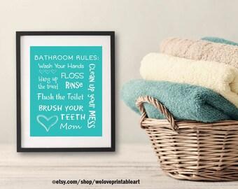 Kids Funny Bathroom Wall Decor, Bathroom Rules Sign, Wash Your Hands, Brush Your Teeth Sign, Printable Bathroom Poster, Wall Art Print