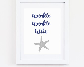 DIGITAL Twinkle Twinkle Little Starfish Wall Art, Navy Blue & Grey Nautical Boy Nursery, Nautical Wall Decor, Beach Baby Print - ANY SIZE