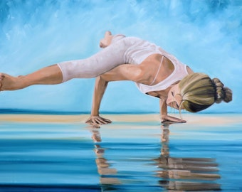 """Yoga Large Oil Painting """"Strength and Beauty"""" Blues Greens Yoga Water Namaste Happy Art by Tina Petersen"""