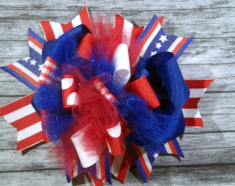 Large PATRIOTIC Over the Top Hairbow