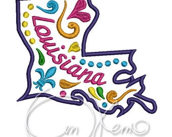 MACHINE EMBROIDERY DESIGN - Louisiana state, Mexican design, Calavera, Dia de los muertos, Day of the dead