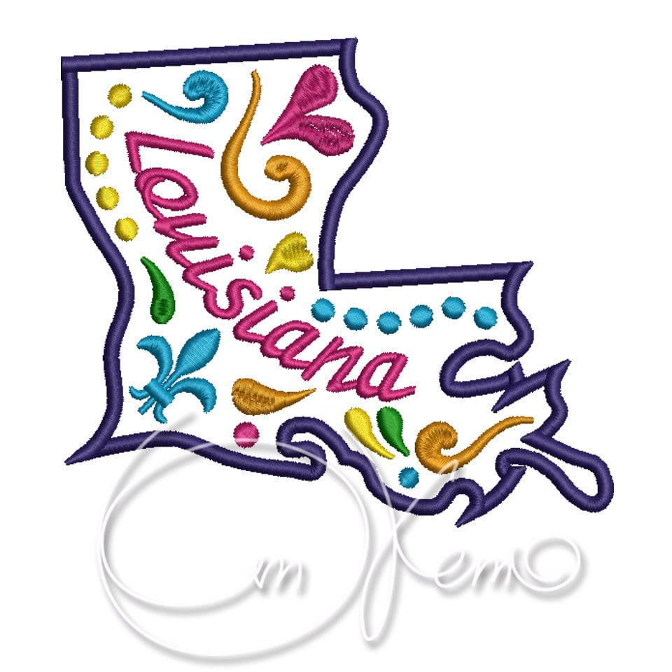 Machine embroidery design louisiana state mexican