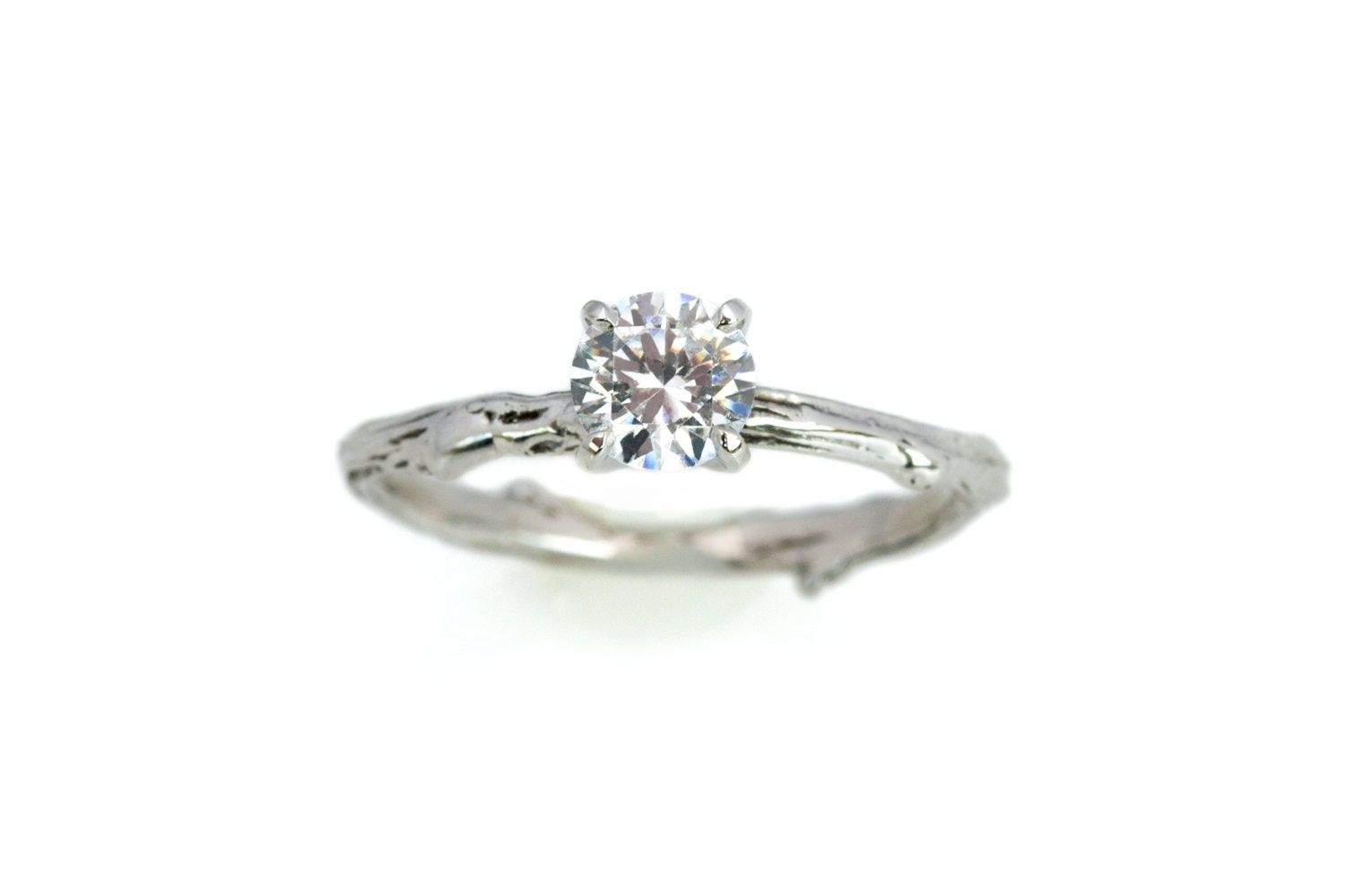 14kt twig engagement ring with 5mm by emilychelseajewelry