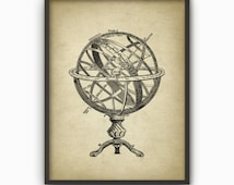 Armillary Sphere Wall Art Poster - Vintage  Armillary Sphere Illustration - Spherical Astrolabe - Armilla - Armil - Celestial Astronomy