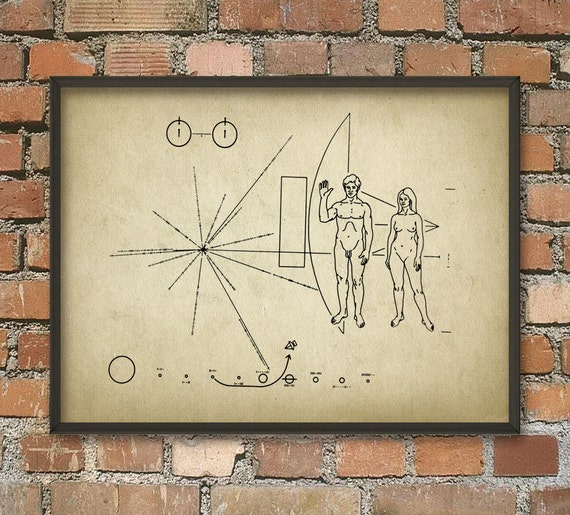 NASA Pioneer 10 Space Probe Plaque Unmanned Space