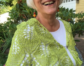 green apple leaves shawl, cotton, linen, handknitted, lime