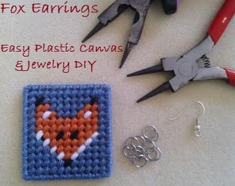 PATTERN for Jewelry DIY & Plastic Canvas Pattern - Plastic Canvas Fox Earrings - Easy DIY - Permission to Sell Finished Items