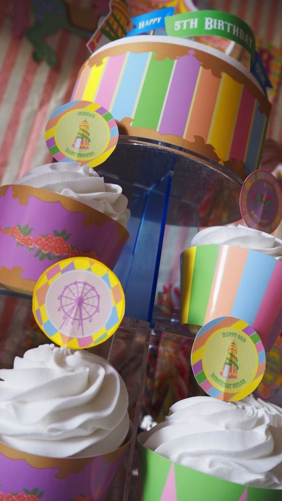 CARNIVAL- Fair Ground - Carousel - PERSONALISED - Child - Birthday - Baby Shower - Pastel Coloured - Cupcake Toppers - PRINTABLE Pdf