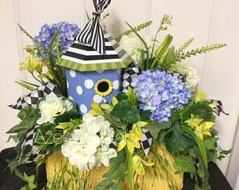 Bright Birdhouse Floral Arrangement, Mackenzie Childs Centerpiece, Checkered Harlequin Home Decor, Kitchen Decoration, Housewares, Wreath