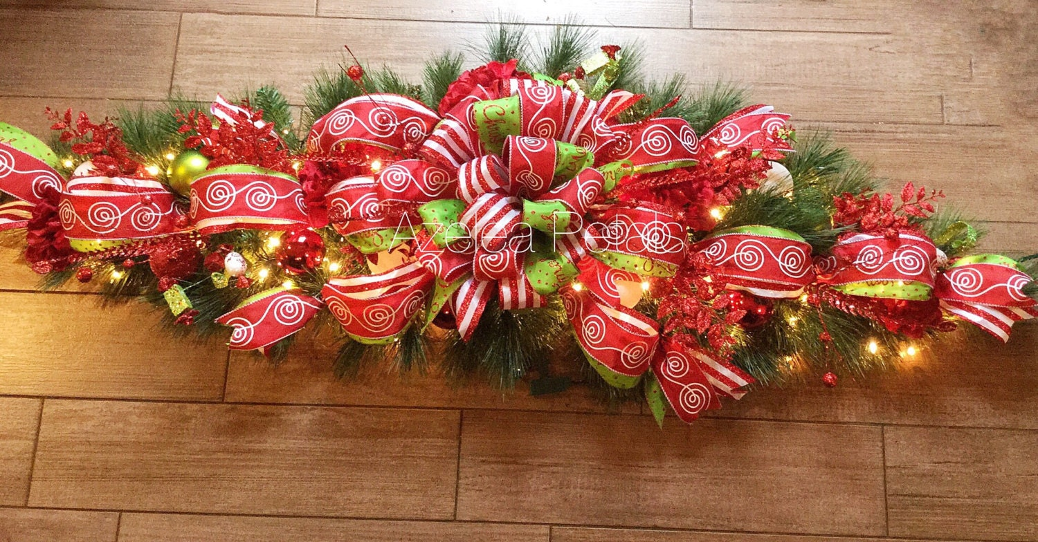 Xl 6ft Candy Cane And Lime Green Mantel Garland Swag