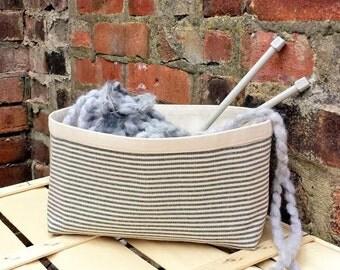 Knitting Bag Large Crochet Project Bag NAVY Blue Striped Natural LINEN Storage BASKET Reversible Canvas Bucket Organizer Holder Container