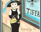 Breakfast at Tiffany's 2, New York 5th Avenue shopping, Cats, a whimsical card or print portrait, Drawing  #0014rpp