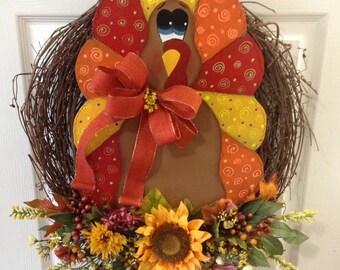 Thanksgiving turkey wreath/ thanksgiving decoration/ turkey decoration/ Fall decoration