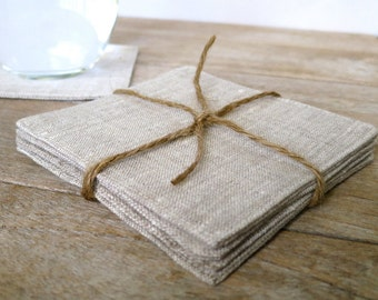 Set of 4 Heathered Linen Coasters, Fabric Coasters, Cocktail Napkins, Modern Coasters, Burlap Look Coasters, Rustic Coasters, Mug Rugs