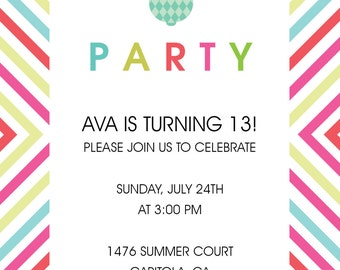 Pineapple and Bright Graphics Party Invitation