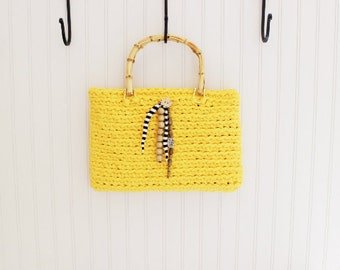 Yellow Handmade Crochet Handbag