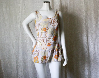 SALE - Tan Skirted Swim Suit with Orange Flowers - S