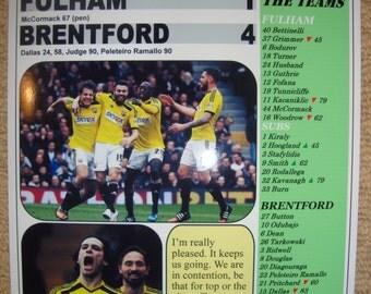 Fulham 1 Brentford 4 - 2015 - souvenir print