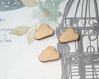 3 x Wooden Cloud Shapes - Ideal for craft/DIY - Ready to paint or decorate - Laser Cut UK