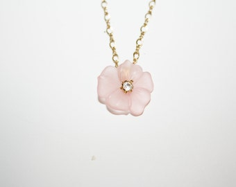 Gold Tone Necklace with Pink Flower and Rhinestone Center