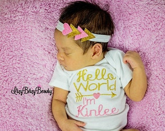 Hello World I'm personalized baby newborn bodysuit arrow headband shower gift set