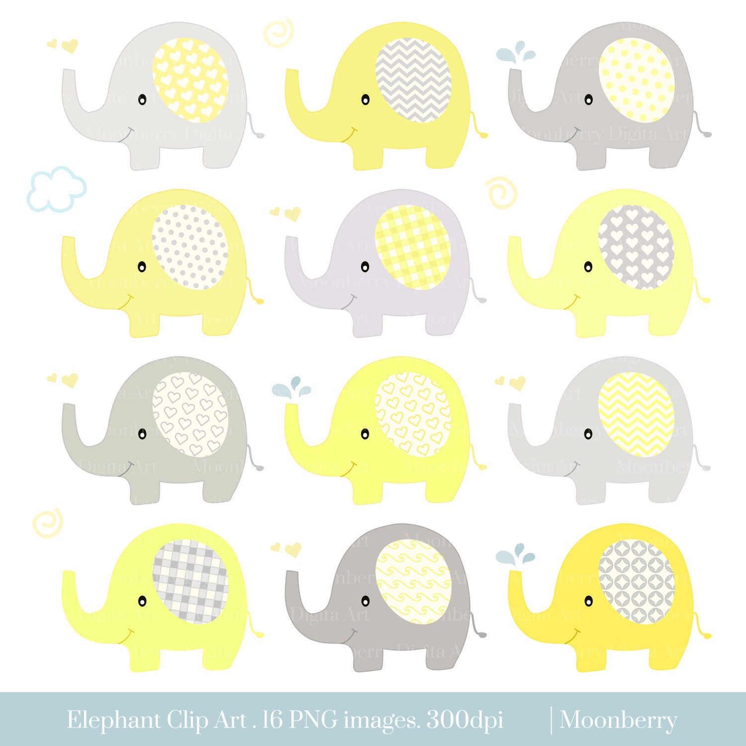 Elephant Clip Art ELEPHANTS CLPART Baby Shower