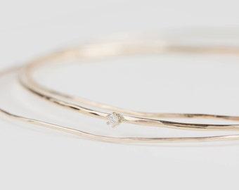 solid 14k gold diamond bangle, 1mm hammered wire bangle, floating diamond bangle, rose gold, while gold, dainty bangle, bangle gol-b103