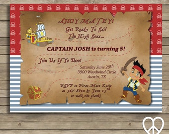 Jake and the Never Land Pirates 5x7 Printable Birthday Invitation
