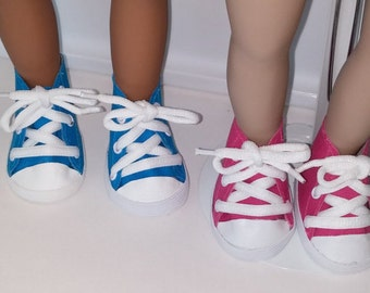 18 inch doll, High top sneakers --available in two colors
