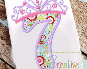 Princess Crown Birthday  Number 7 Machine Embroidery Applique Design 4 Sizes