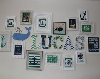 "9"" Fabric covered wooden letters for nursery/bedroom"