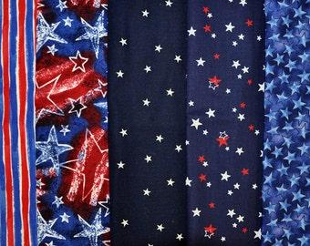 Patriotic variety - stars and stripes - 1.25 yard - 5 quarter yards  -  (FQ212)