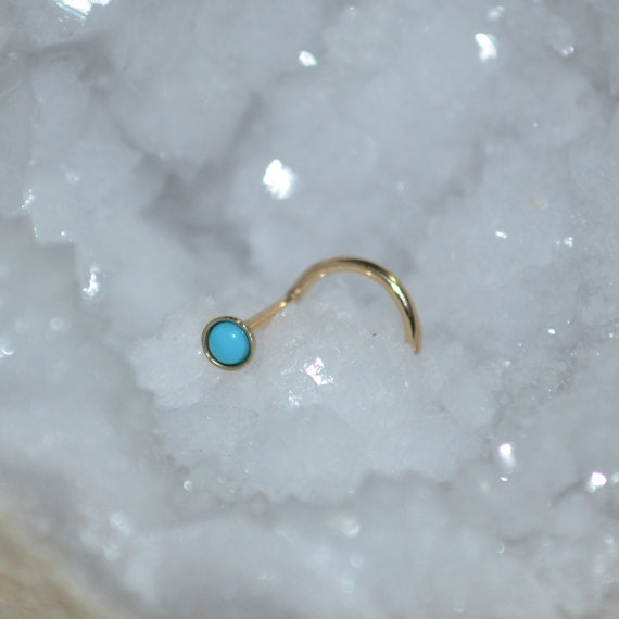 2mm Turquoise Nose Stud 20g - Gold Nose Ring - Tragus Earring Stud - Helix Stud - Cartilage Stud - Tragus Stud - Nose Screw 20g
