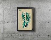 SAILOR NEPTUNE poster - Inspired by the Sailor Moon Anime series. Watercolor Giclée Print.