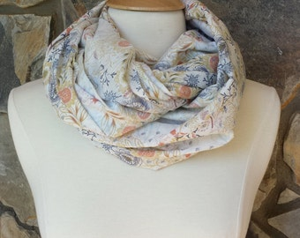 Grey and Peach Lightweight Vintage Floral Pattern Linen Infinity Scarf