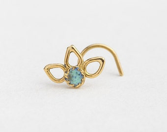 14k Gold Nose Stud, Flower Nose Stud, Nose Jewelry, Nostril Pin, Gold Nostril Stud, Nostril Screw, Elegant Piercing, Tragus Pin