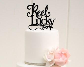 Reel Lucky Fishing Wedding Cake Topper - Custom Cake Topper - 0010