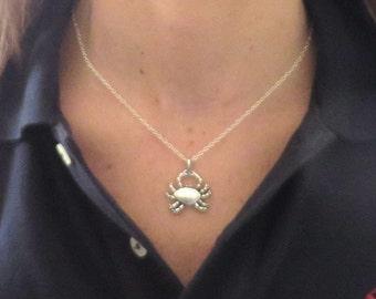 Crab Pendant Summer Beach Ocean Necklace You Choose Necklace Length