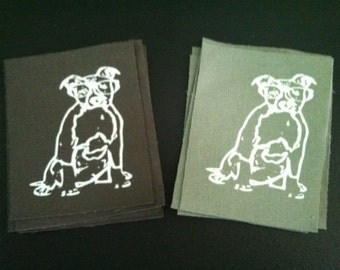 Pit Bull w/ Glasses Patch - Screen printed on Up-cycled Fabric- White Ink - Two Colors Available - eco-friendly