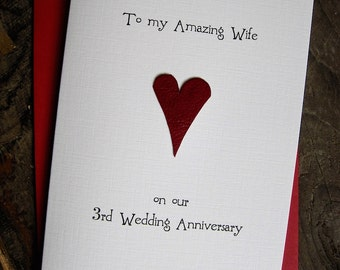 4th Wedding Anniversary Present Husband : 3rd Wedding Anniversary Card LEATHER Traditional Gift Handmade ...