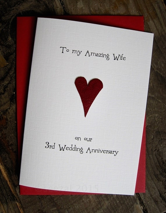3 Year Wedding Gift : ... Gift Handmade Keepsake Wife Husband Third Three Years Red Leather Size