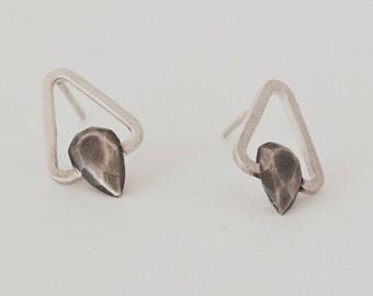 geometric earrings - black stud earings - sterling silver stud earrings for women - sterling silver earrings studs - TriangleS SOX