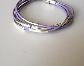 Lilac Multi Strand Leather Bracelet - Silver Purple Bracelet - Purple Leather Bracelet - 4 Strand Leather Bracelet - Handmade Bracelet