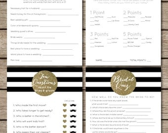 Black and White Striped/Gold Glitter Bridal Shower & Wedding Game Suite (4 Games)